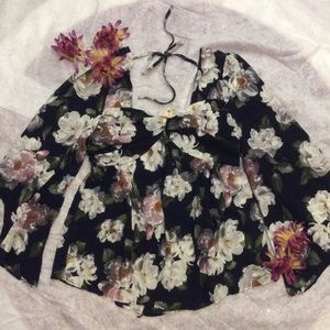 Tops - Navy and Floral Boho Blouse